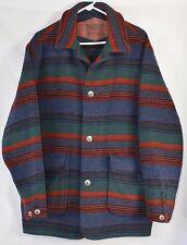 WOOLRICH Heavy Striped Southwest Blanket Coat Sz L Made in USA Wool