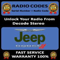 T--AA SERIAL █►RADIO CODE FITS ALPINE Chrysler Jeep Cherokee Commander UNLOCK