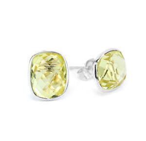 14K White Gold Studs With Cushion Cut Lemon Topaz Gemstones