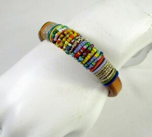 Sundance Catalog World Beat Bracelet Handcrafted Leather Vintage Trade Beads