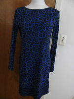 Michael Kors women's printed dark azurite boat neckjersey shift dress S M L NWT