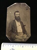 Antique Tintype Seated Bearded Man White Eyes Post Mortem Tin Type Tintype