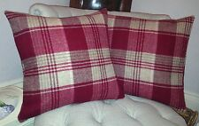 "Laura Ashley Cranbourne Wool Check Cranberry Cushion Cover 16""x16"""