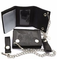 Trifold Black Leather Biker Chain Wallet with Embossed Motorcycle Design