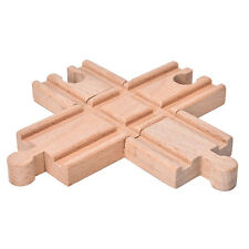 1 Pcs Wooden Cross Bifurcated Track Railway Toys Compatible All Major Brand KY