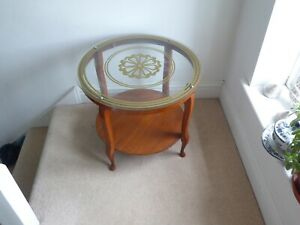 Vintage 1970'sTwo Tier Bentwood Circular Coffee Table With Glass Top 58cm x 50cm