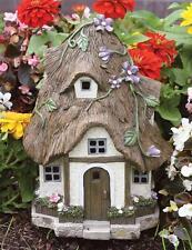 """Faux Stone Garden Solar Fairy Florest House 15""""H"""