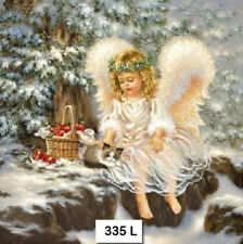 (335) TWO Individual Paper Luncheon Decoupage Napkins - ANGEL GIRL SNOW KITTEN