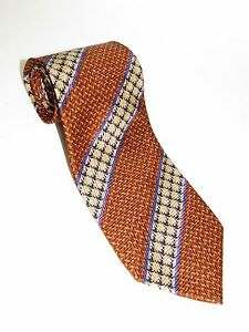 ERMENEGILDO ZEGNA100% Silk NECKTIE MEN ORANGE & GOLD & BLUE NEW