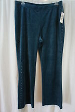 Style&co.Woman Sport Velour Pants Sz 1X Rustic Teal Rhinestone Studded Side