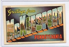 LARGE LETTER LINEN-GREETINGS FROM McKEESPORT,PA 1938