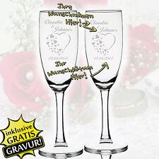2 Set Sektgläser mit Personalisierter Gravur Hochzeit Geschenk