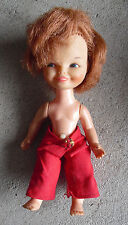 "Vintage 1966 Remco Vinyl Plastic Red Hair Girl Character Doll 5 1/2"" Tall #2"