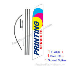 Printing Services 15' Feather Banner Swooper Flag Kit with pole+spike