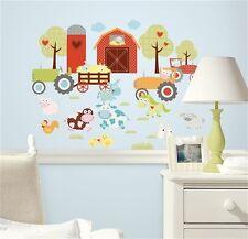 BARNYARD wall stickers 42 decals farm animals cows pigs silo barn tractor decor