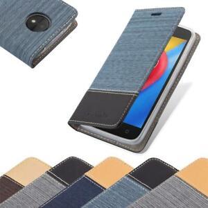 Handy Hülle für Motorola MOTO C PLUS Cover Case Tasche Etui Jeans Stoff
