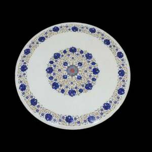 "48"" Marble Center Table Top Lapis Inlay Semi precious stones Handmade home Decor"