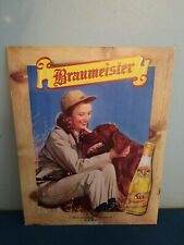 1940s Braumeister beer lady hunting with gun & lab dog cardboard litho sign wis