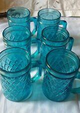 Servizio 6 bicchieri boccali COLORATI blu d epoca, 6 VINTAGE COLOURED GLASSES