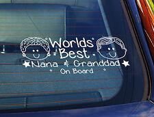Static Cling Window Car Sign/Decal World Best Nana & Grandad On Board