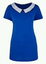Ladies Jersey Top with Sequin Collar & Pleat Back - Blue - Size 16 *QUALITY*