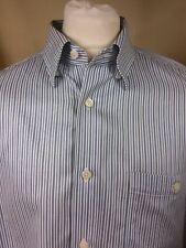 """Charles F Orvis Signature Collection Blue White Stripe Double Cuff Shirt XL 18"""""""