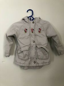 Old Navy Minnie Mouse Girls Size 4T Winter Coat Beige Tan Hooded Parka Disney