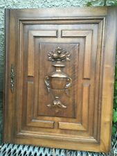 Antique wood French architectural Furniture Walnut Door Urn Panel Carved Flowers