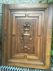 Antique wood French Furniture Walnut Door Urn Wall Relief Panel Carved Door