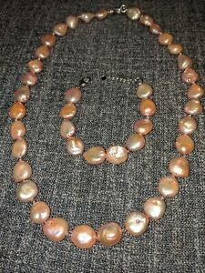 Pink Coin 16mm Cultured Freshwater Pearl Necklace Set