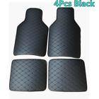 4X Universal Car Floor Mats Front & Rear Floor Liner All-Weather Black PU Carpet