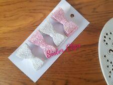Girls Handmade 4 baby/toddler small white & pink Glitter Hair Bow clips