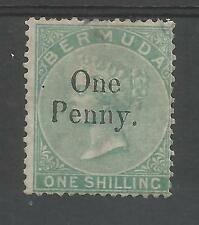 BERMUDA  SG17 THE 1875 QV 1d ON 1/- MOUNTED MINT CAT £500,SCARCE STAMP