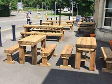 5 pub tables  and 10  benches,  5 sets , pubs garden cafe outdoor sleeper bench