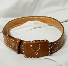 Vintage Mexican Leather Belt w/ Spur Buckle Adult Unisex Size 36 C3