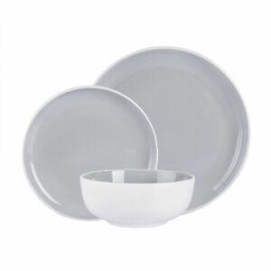 Grey Two-tone 12 Piece Dinner Set Sleek Grey & White Design Dinnerware
