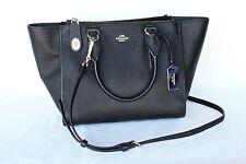 COACH Purse Handbag New York Leather BLACK Bag Zipper Pockets Clip Strap Gift