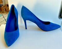Wittner Rainey Blue Suede Heels Size 38 AU 7 - Pointy Toe - Stilletto Heel
