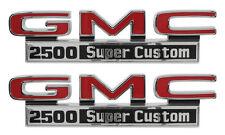 1971-1972 GMC Pick Up Truck Front Fender Emblem 2500 Super Custom Pair