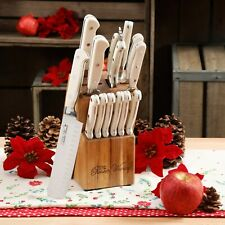 The Pioneer Woman Cowboy Rustic 14-Piece Forged Cutlery Knife Block Set, Linen