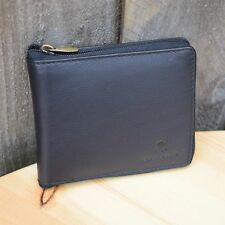 Mens GENUINE - REAL Leather Wallet   FULL ZIP Around   HIGH Quality   BLACK