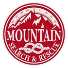 Mountain Search & Rescue Large Round Red on White Reflective Decal Sticker
