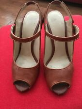 "VERY GOOD  CONDITION DOLCE & GABBANA TAN BUCKLE STRAP 8/38 4"" HEEL"