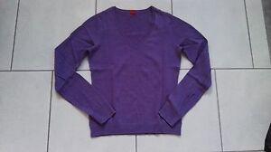 Esprit Pullover Pulli Gr. XS 34 36 lila Shirt Oberteil basic V-Ausschnitt
