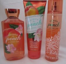 Bath & Body Works Georgia Peach & Sweet Tea 3 Pc Set Gel Cream Fragrance Mist