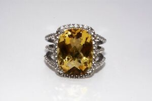 $400 17.81CT NATURAL CITRINE & TOPAZ COCKTAIL SILVER RING SIZE 7.25