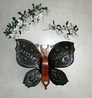 Vintage Butterfly Wall Hanging Copper Wood Metal Art Wall Decor