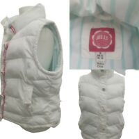 Ladies Joules Waistcoat Gilet Size 16 Quilted Vest White Pink Sleeveless Jacket