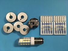 Pfaff  Nähmaschinen Spulenkapsel  + 5 Spule, LED Lampe und Nadel 70-90 Sparset
