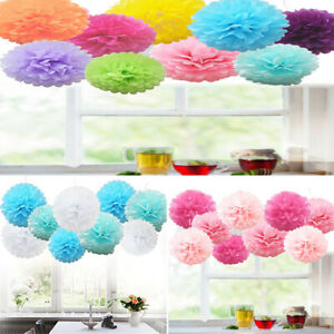 9 Pcs Mixed Tissue Paper Pom Poms Pompoms Hanging Wedding Garland Party Decor